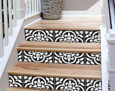 """Escalier Riser autocollants - amovible escalier Riser tuile Stickers - Corona Pack de 6 en noir - Peel & Stick escalier Riser déco bandes - 48"""" de long"""