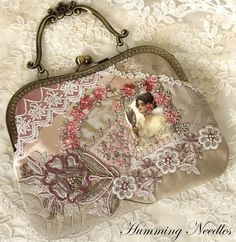 One last look in the mirror before stepping out the door and off to the ball she is. Shabby Chic Quilts, Sewing Lace, Frame Purse, Millinery Hats, Coin Bag, Beaded Purses, Silk Ribbon Embroidery, Vintage Purses, Organizer