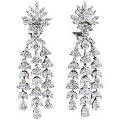 Fabulous Diamond Gold Drop Earrings | See more rare vintage Dangle Earrings at https://www.1stdibs.com/jewelry/earrings/dangle-earrings