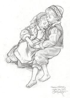 Hansel and Gretel Asleep -Scott Gustafson American Illustration, Children's Book Illustration, Adult Coloring, Coloring Books, Hansel Y Gretel, German Fairy Tales, Fairy Tale Theme, Classic Fairy Tales, Vintage Fairies