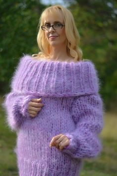 ORDER hand knitted mohair sweater fuzzy mohair pullover chunky mohair jumper fluffy cowlneck sweater handmade mohair cowlneck M L XL Dukyana Fibre Material, Mohair Sweater, Blanket Scarf, Design Crafts, Gorgeous Women, Mittens, Hand Knitting, Pullover, Wool