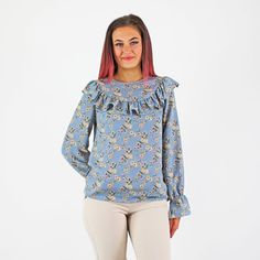 Glamorous Blue & Blush Ditsy Floral Print Frill Long Sleeve Blouse Smart Casual Shirts, Pink Cadillac, Ditsy Floral, Fashion Outfits, Womens Fashion, No Frills, Fashion Boutique, Work Wear, Blush