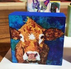 Pop Art Cow Collectible How Now Giclee Mini Block