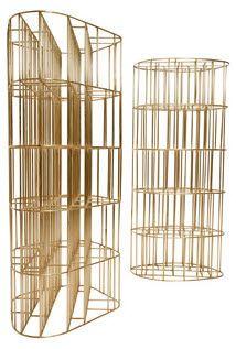 Original design bookcase / metal GOLDEN CAGE by Vincenzo De Cotiis CECCOTTI COLLEZIONI