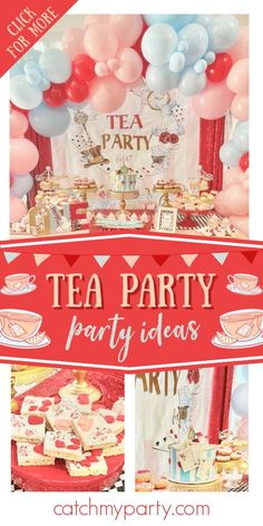 Take a look at this wonderful tea party! The cake is stunning! See more party ideas and share yours at CatchMyParty.com 1st Birthday Party For Girls, Tea Party Birthday, Cupcake Party Favors, Party Cakes, Tea Party Theme, Party Drinks, Alice In Wonderland Tea Party, Teas, Collage
