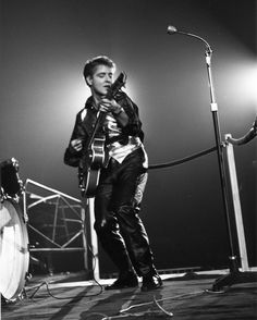 Eddie Cochran on stage.