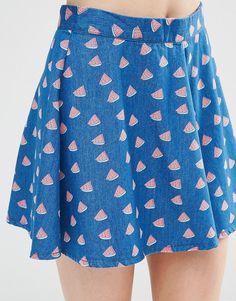 Image 3 ofNoisy May Petite Watermelon Print Denim Skater Skirt