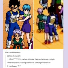 Although the second pic suck... (Vegeta beign a giant and Trunks pretty much a grown as little people) It made me squeal the way they're hugging