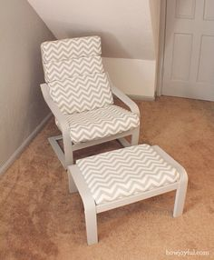 Ikea poang chair recover | How Joyful  (these look like my patio chairs.... could I recover them?)