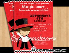 Magician themed party invite card, your guests will look forward to a magical party celebrating your child's birthday. #cupcakemakeover