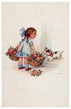 Jack russell terrier w girl postcard