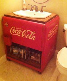 I need this in my Coca-Cola bathroom, lol! antique coca cola cooler repurposed as bath vanity. 17 picks unusual bath vanities from the search for america's best remodel 2014 Coca Cola Vintage, Deco Tape, Coca Cola Cooler, Coca Cola Decor, Coca Cola Kitchen, Always Coca Cola, Best Bathroom Vanities, Sinks, Deco Retro