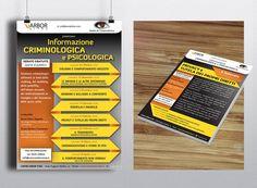 """•S Manifesto e flyer per il ciclo di conferenze """"Informazione Criminologica e Psicologica"""" del Centro Clinico di psicologia e medicina integrata Arbor Vitae. #arborvitae #alpianodisottographic #Ilovemyjob #criminologia"""