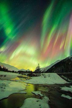 Alaska to see the aurora borealis. So beautiful : ).