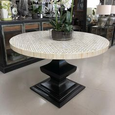 Calais Round Dining / Entry Table Inlay Grey and White with Wood Base in Black 120 cm #diningtable #roundtable #entrytable…