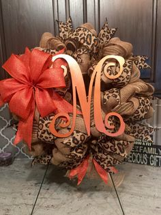 A personal favorite from my Etsy shop https://www.etsy.com/listing/470583785/leopard-print-monogram-burlap-wreath