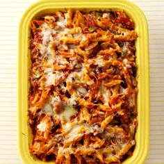 Sausage and Pepperoni Pizza Pasta ~ Quick-prep veggies and simple seasonings get this saucy meat-lover's pizza casserole on the table pronto. It's great for potlucks, too, as it can easily be doubled or tripled to feed a large group