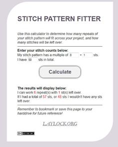Stitch Pattern Fitter- finds how many times to repeat a pattern for your project!