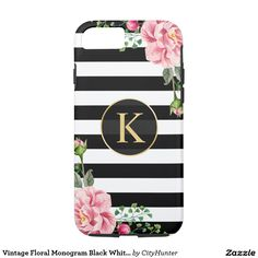 Vintage Floral Monogram Black White Striped