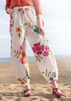 """Housut """"Florencia"""" puuvillaa/silkkiä – Tuliset ruusut – GUDRUN SJÖDÉN - vaatteita verkossa ja postimyynnissä"""