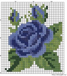 Cross stitch chart, a blue rose Cross Stitch Cards, Cross Stitch Rose, Cross Stitch Flowers, Mini Cross Stitch, Cross Stitching, Cross Stitch Embroidery, Embroidery Patterns, Cross Stitch Designs, Cross Stitch Patterns
