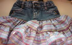 67dc6ff60df03 Little Girl Jean Skirt Tutorial. Are these supposed to just be for little  girls?