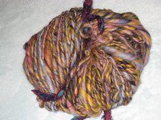 SALE Handspun Art Yarn / Licorice Candy  / by Fiber by Dreamfiber