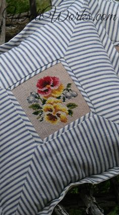 Salvaged Needlepoint + Vintage Blue Ticking Pillow slip at