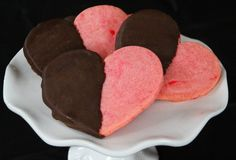 Life Is Sweets: Cherry Shortbread Hearts Dipped in Chocolate