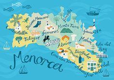 Menorca Map, giclee print on fine art paper / Alice Stevenson Ciutadella Menorca, Ibiza Travel, Map Wallpaper, Tourist Map, Balearic Islands, Map Design, City Maps, Map Art, Spain