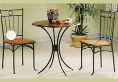 Coaster Metal and Wood 3-Piece Bistro Kitchen Dining Round Table Chair Set New  #CoasterHomeFurnishings #Contemporary #Kitchen #Dining #Table #Round