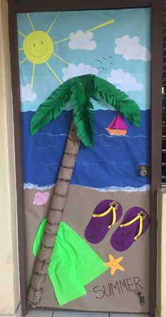 Summer Door Decorations, School Decorations, Board Decoration, Class Decoration, Preschool Crafts, Kids Crafts, Summer Bulletin Boards, Summer Arts And Crafts, School Doors
