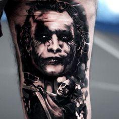 Realistic black and grey joker tattoo by Silvano Fiato
