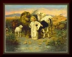 """The 1896 painting """"Peace"""" by William Strutt shown here depicts the lion and lamb described in the Bible scriptures Isaiah and Isaiah Akiane Kramarik Paintings, Isaiah 11, Isaiah Quotes, Psalm 37, Wolf Canvas, Lion And Lamb, Prophetic Art, Christian Art, Wood Print"""