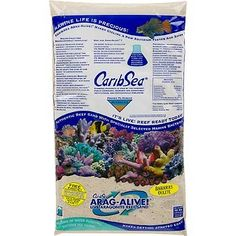 CaribSea Arag-Alive Bahamas Oolite Aquarium Sand, 20 lbs. Contains specially selected marine bacteria to suppress New Tank Syndrome. Never needs replacement. Aids in the growth of corals. Buffers for the life of the aquarium. Helps maintain a proper pH of 8.2 without constant chemical additions.  #CaribSea #PetProducts