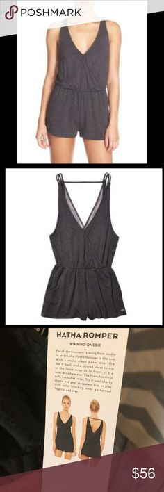 ALO Yoga Hatha Romper- Winning Onesie For of-the-moment layering from studio to street, the Hatha Romper is the one. With a micro-mesh panel over the low V-back, and a shirred waist to nip in the loose wrap-style front , it's a wear-anywhere star. The French terry is soft, but substantial. Try it over shorty shorts and your strappiest bra, or play with colour-blocking over patterned leggings and tees.  Fit: Strappy design detail Mesh paneling and pocket detail Ideal for to/from practice So…