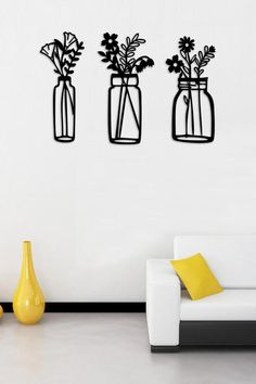 Accent Wall Decor, Office Wall Decor, Room Decor, Wooden Wall Decor, Wooden Walls, Laser Cutter Ideas, Vase Shapes, Wood Flowers, Steel House