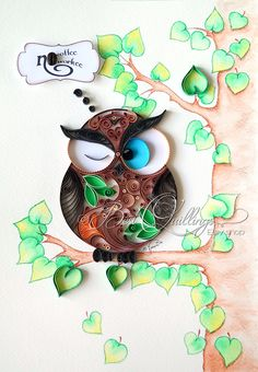 "Original Quilling Drawing Art: ""OWL - No Coffee, No Workee"" Paper Art, Framed…"