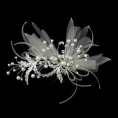 Elegance By Carbonneau Pearl And Crystal Ribbon Wedding Hair Clip $75