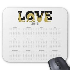 LOVE flexible pony calendar 2015 Mouse Pads. A very bendy, cartoon pony twisting into the letters of the word LOVE, on a 2015 mouse pad calendar.