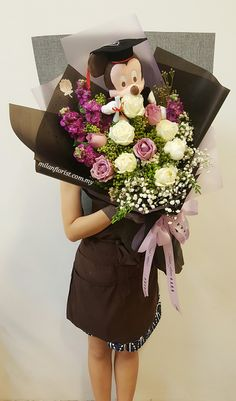 """See 1 photo and 1 tip from 8 visitors to Milan Florist. """"Proffesional Flower Stylist ,Wrapping & Design Excellent Flower Bouquet, Alot Flower from. Diy Graduation Gifts, Graduation Party Decor, Gift Bouquet, Hand Bouquet, Hand Flowers, Paper Flowers, Graduation Flowers Bouquet, Cute Birthday Gift, Floral Bouquets"""