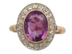 2.65 ct Amethyst and 0.36 ct Diamond, 15 ct Rose Gold Cluster Ring - Vintage Circa 1940
