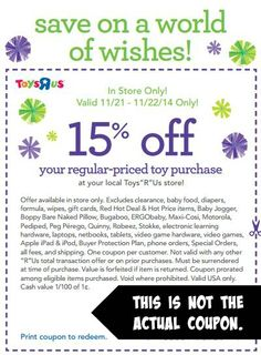 RARE Toys R Us Coupon – Save 15 % 11/21 and 11/22