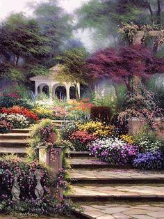 Paved Steps Flanked By Flowers Leading To A Romantic Gazebo~ Egidio Antonaccio ~Bentley Licensing Group