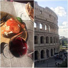 Day 1: Enjoying sun Colosseum bruschetta and some Italian wine  #italy #italia #rome #colosseum #trip #travelling #matkalla