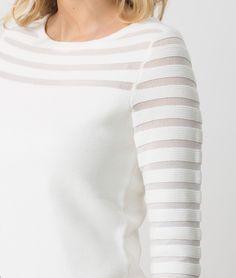 1.2.3 Paris - Les looks printemps-été 2017 - #Pull #blanc ajouré Hypnose 79€ #123paris #mode #fashion #shopping #ootd #maille #knit #knitwear #white #rayures #stripes