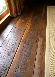 laminate flooring wide plank distressed - Reclaimed Antique Hardwood click the image or link for more info. Wide Plank Flooring, Basement Flooring, Diy Flooring, Wooden Flooring, Flooring Ideas, Reclaimed Wood Floors, Flooring Options, Bedroom Flooring, Maple Flooring