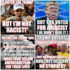 """Trump Violent, Racist Supporters and Trumps """"Silent Secret Majority aka Undercover Racist"""" are just as much to blame for the Hate Crimes sweeping the Nation as Trump Himself."""