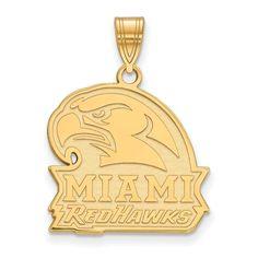 Sterling Silver w/GP LogoArt Miami University Large Pendant