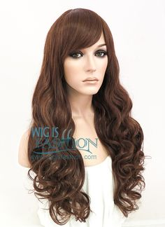 "24"" Long Curly Dark Brown Fashion Synthetic Hair Wig CM175"